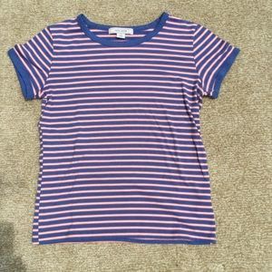 Adam Levine Blue, White, and Orange Striped Shirt